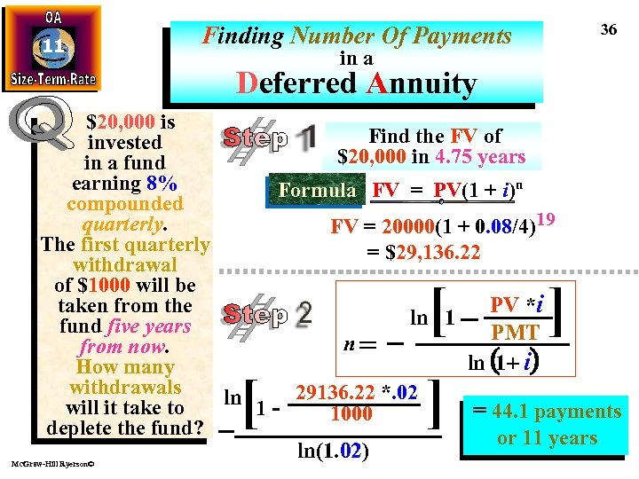 11 36 Finding Number Of Payments in a Deferred Annuity $20, 000 is Find