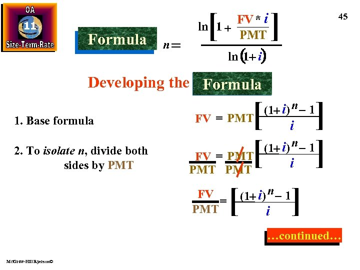 11 Formula n [ FV * i ln 1 + PMT ] 45 ln