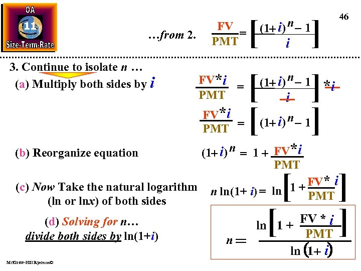 11 …from 2. 3. Continue to isolate n … (a) Multiply both sides by