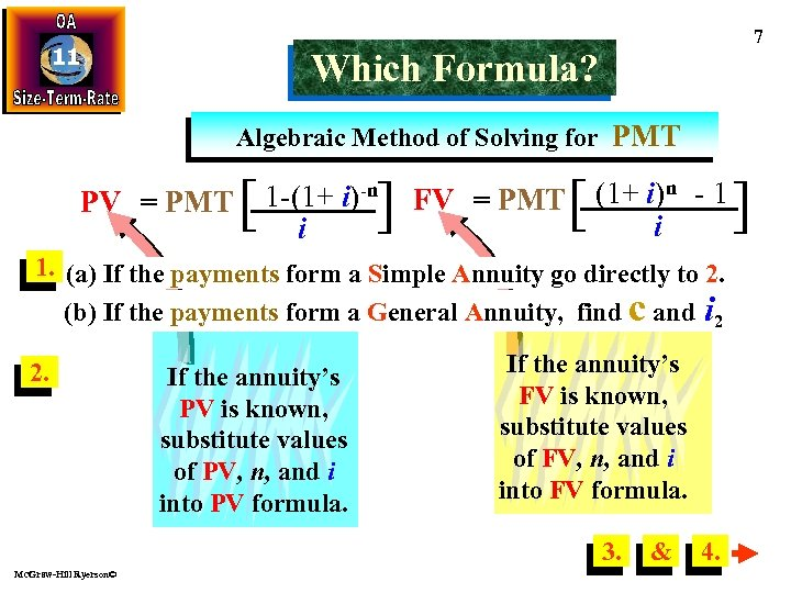 11 7 Which Formula? Algebraic Method of Solving for PMT PV = PMT [