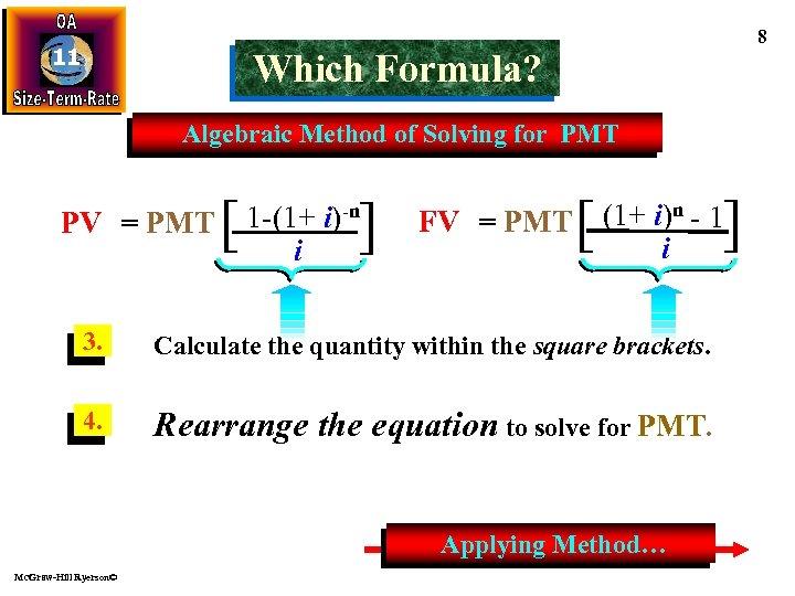 11 8 Which Formula? Algebraic Method of Solving for PMT PV = PMT [