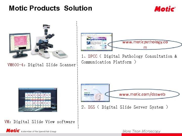 Motic Products Solution www. moticpathology. co m VM 600 -4:Digital Slide Scanner 1、DPCC( Digital