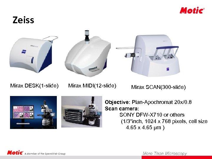 Zeiss Mirax DESK(1 -slide) Mirax MIDI(12 -slide) Mirax SCAN(300 -slide) Objective: Plan-Apochromat 20 x/0.