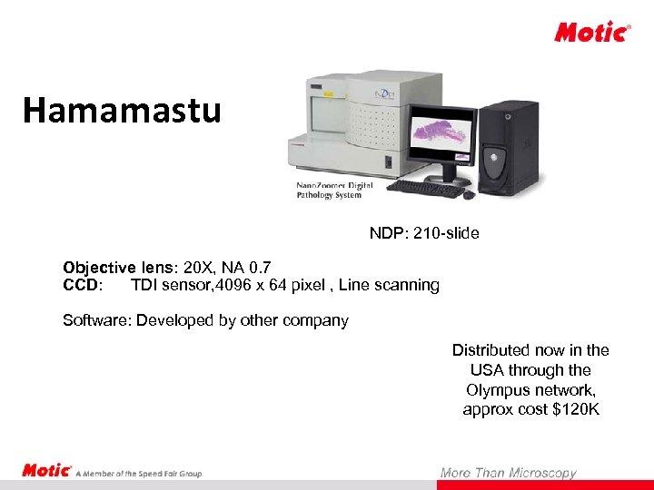 Hamamastu NDP: 210 -slide Objective lens: 20 X, NA 0. 7 CCD: TDI sensor,