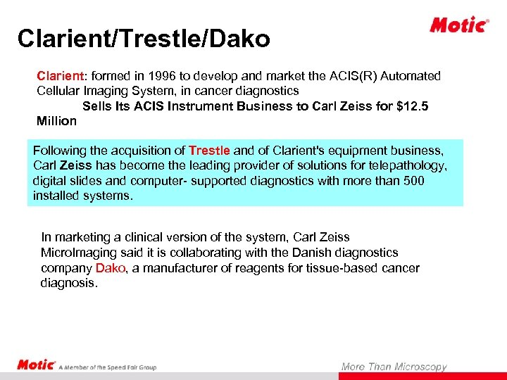 Clarient/Trestle/Dako Clarient: formed in 1996 to develop and market the ACIS(R) Automated Cellular Imaging