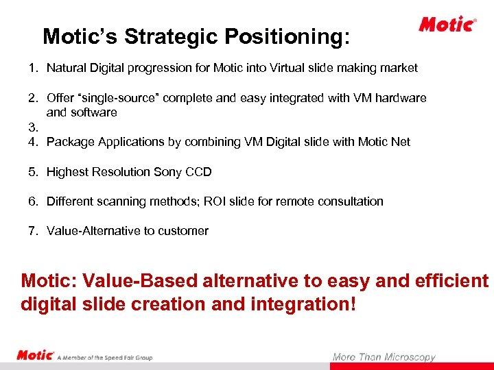 Motic's Strategic Positioning: 1. Natural Digital progression for Motic into Virtual slide making market