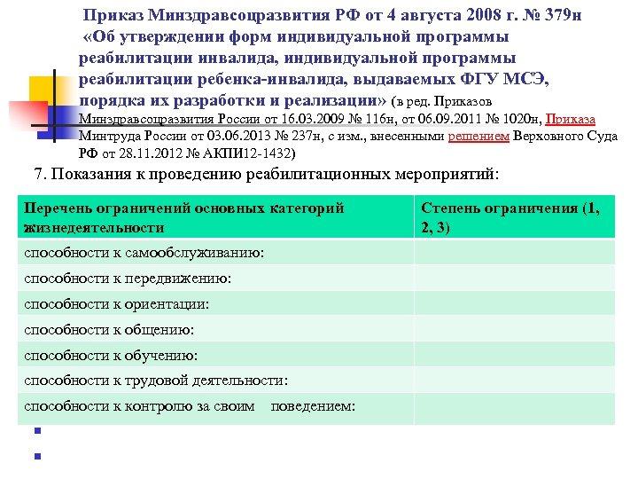 Приказ Минздравсоцразвития РФ от 4 августа 2008 г. № 379 н «Об утверждении