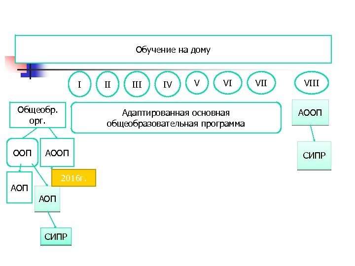 Обучение на дому I Общеобр. орг. ООП III IV V VI Адаптированная основная общеобразовательная