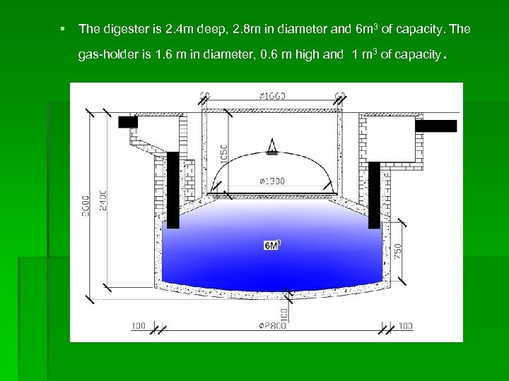 § The digester is 2. 4 m deep, 2. 8 m in diameter and
