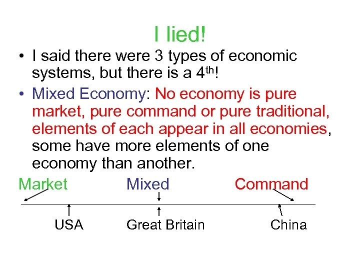 I lied! • I said there were 3 types of economic systems, but there