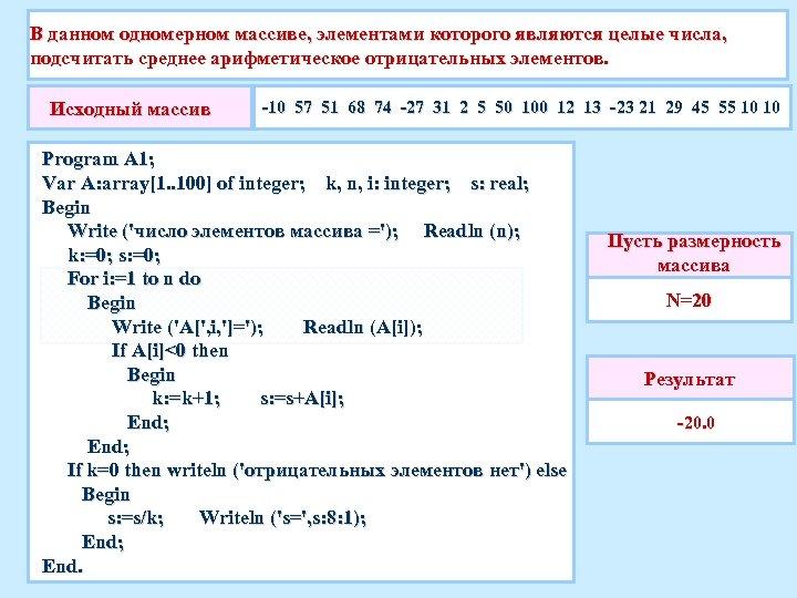 В данном одномерном массиве, элементами которого являются целые числа, подсчитать среднее арифметическое отрицательных элементов.