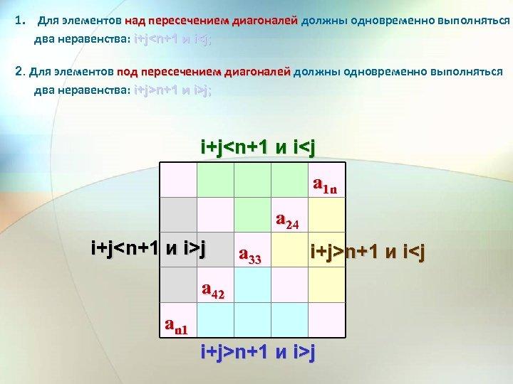 1. Для элементов над пересечением диагоналей должны одновременно выполняться два неравенства: i+j<n+1 и i<j;