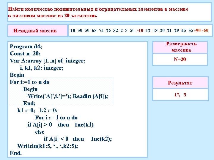 Найти количество положительных и отрицательных элементов в массиве в числовом массиве из 20 элементов.