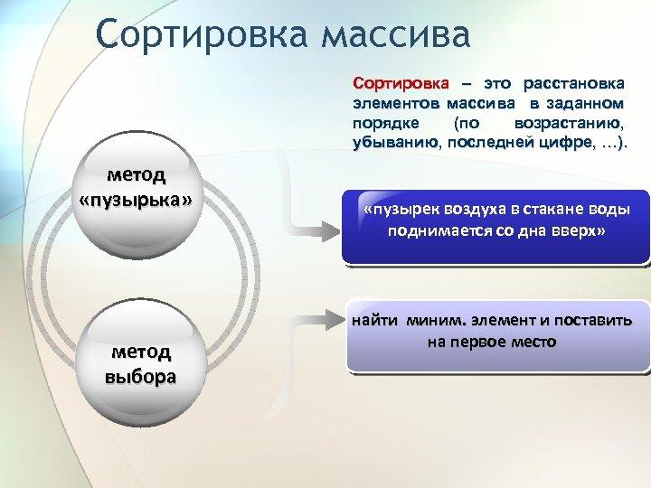 Сортировка массива Сортировка – это расстановка элементов массива в заданном порядке (по возрастанию, убыванию,
