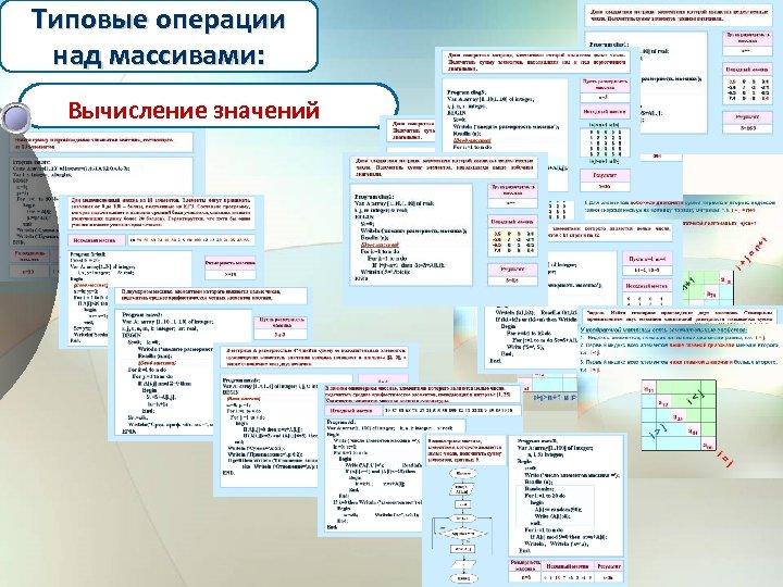 Типовые операции над массивами: Вычисление значений