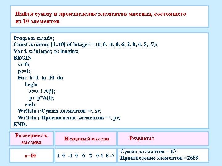 Найти сумму и произведение элементов массива, состоящего из 10 элементов Program massiv; Const A:
