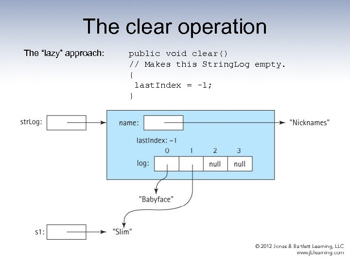 """The clear operation The """"lazy"""" approach: public void clear() // Makes this String. Log"""