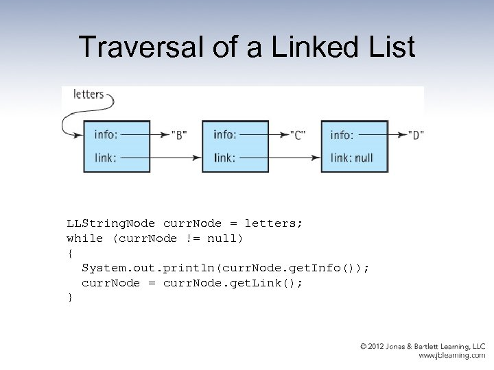 Traversal of a Linked List LLString. Node curr. Node = letters; while (curr. Node