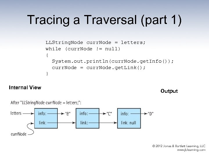 Tracing a Traversal (part 1) LLString. Node curr. Node = letters; while (curr. Node