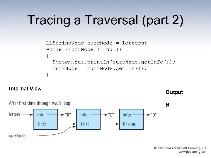 Tracing a Traversal (part 2) LLString. Node curr. Node = letters; while (curr. Node