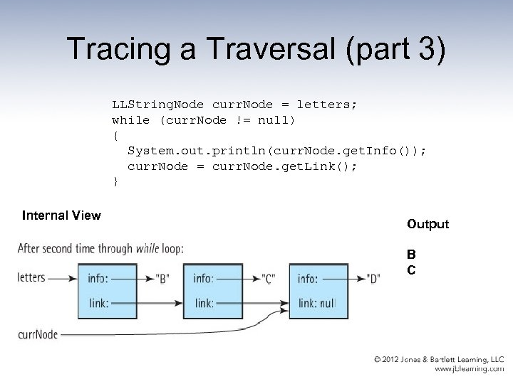 Tracing a Traversal (part 3) LLString. Node curr. Node = letters; while (curr. Node