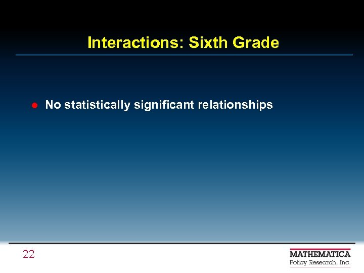 Interactions: Sixth Grade l 22 No statistically significant relationships