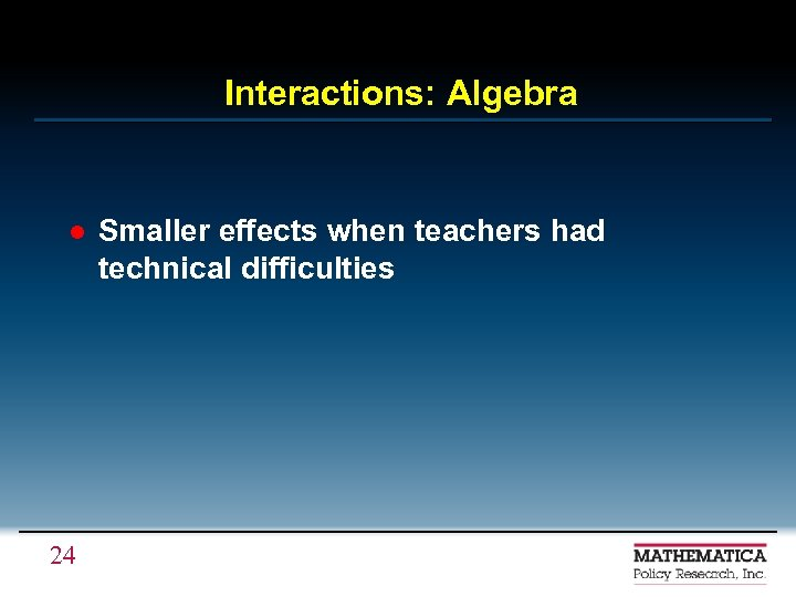 Interactions: Algebra l 24 Smaller effects when teachers had technical difficulties