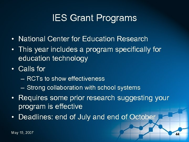 IES Grant Programs • National Center for Education Research • This year includes a