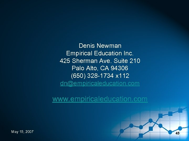 Denis Newman Empirical Education Inc. 425 Sherman Ave. Suite 210 Palo Alto, CA 94306