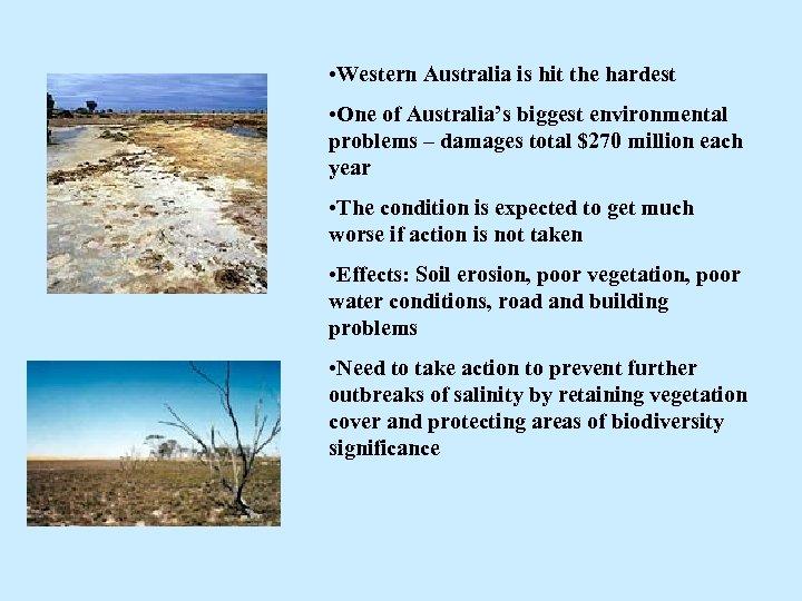 • Western Australia is hit the hardest • One of Australia's biggest environmental