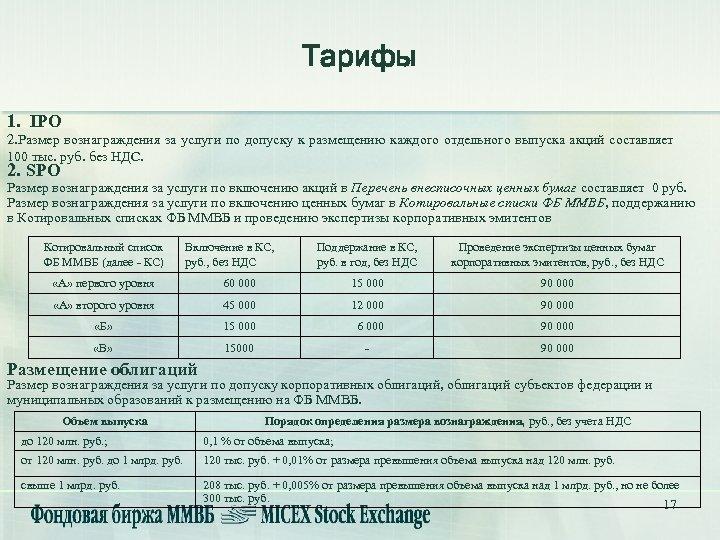 Тарифы 1. IPO 2. Размер вознаграждения за услуги по допуску к размещению каждого отдельного