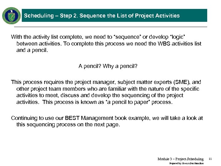 Earned Value Management Tutorial Module 3 Project Scheduling