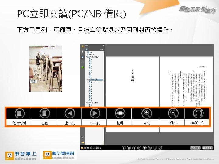 PC立即閱讀(PC/NB 借閱) 下方 具列,可翻頁、目錄章節點選以及回到封面的操作。 16