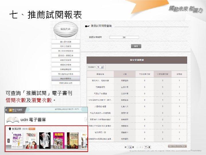 七、推薦試閱報表 可查詢「推薦試閱」電子書刊 借閱次數及瀏覽次數。