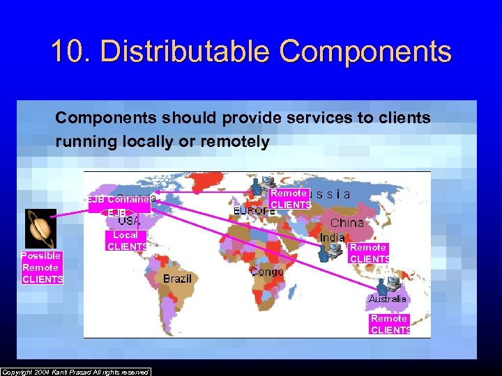 10. Distributable Components should provide services to clients running locally or remotely EJB Container