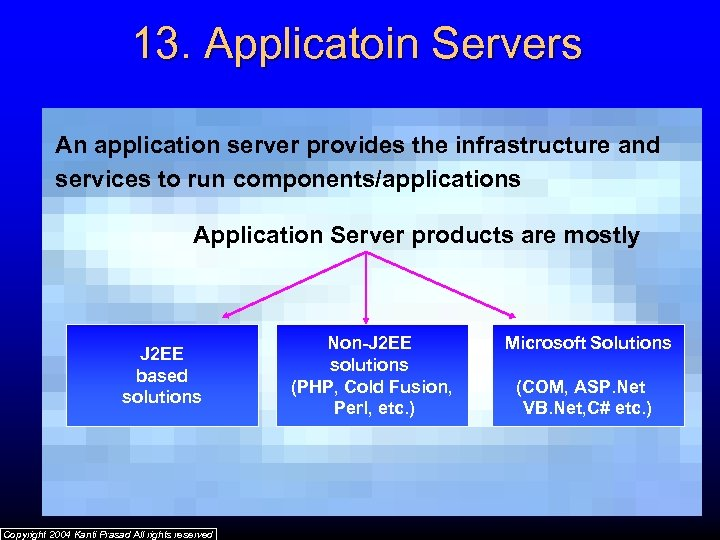 13. Applicatoin Servers An application server provides the infrastructure and services to run components/applications