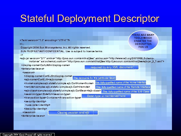 Stateful Deployment Descriptor THERE ARE MANY TOOLS WHICH CREATES THE DESCRIPTOR FOR US <?