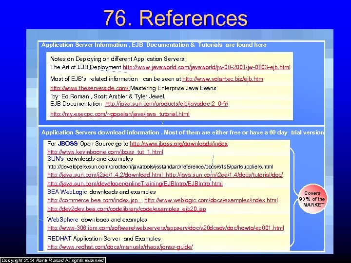 76. References Application Server Information , EJB Documentation & Tutorials are found here Notes