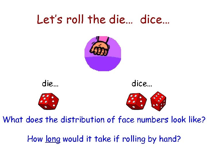 Let's roll the die… dice… What does the distribution of face numbers look like?