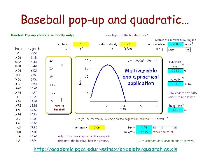 Baseball pop-up and quadratic… Multivariable and a practical application http: //academic. pgcc. edu/~ssinex/excelets/quadratics. xls