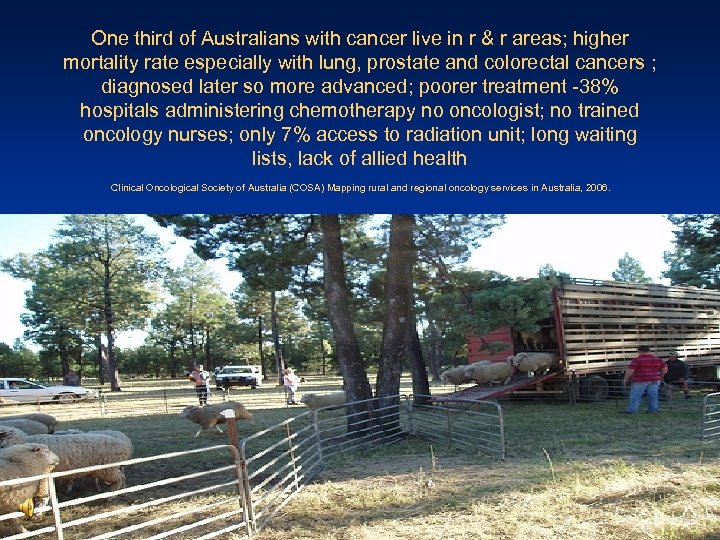 One third of Australians with cancer live in r & r areas; higher mortality