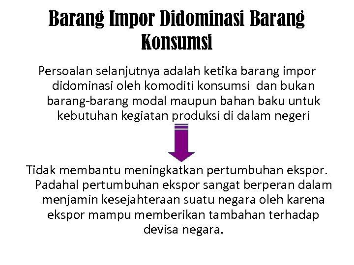 Barang Impor Didominasi Barang Konsumsi Persoalan selanjutnya adalah ketika barang impor didominasi oleh komoditi
