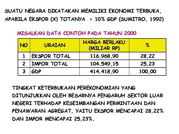 SUATU NEGARA DIKATAKAN MEMILIKI EKONOMI TERBUKA, APABILA EKSPOR (X) TOTANYA > 10% GDP (SUMITRO,