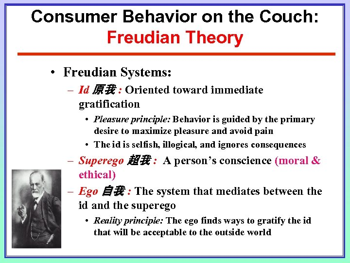 Consumer Behavior on the Couch: Freudian Theory • Freudian Systems: – Id 原我 :