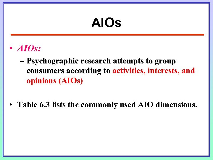 AIOs • AIOs: – Psychographic research attempts to group consumers according to activities, interests,