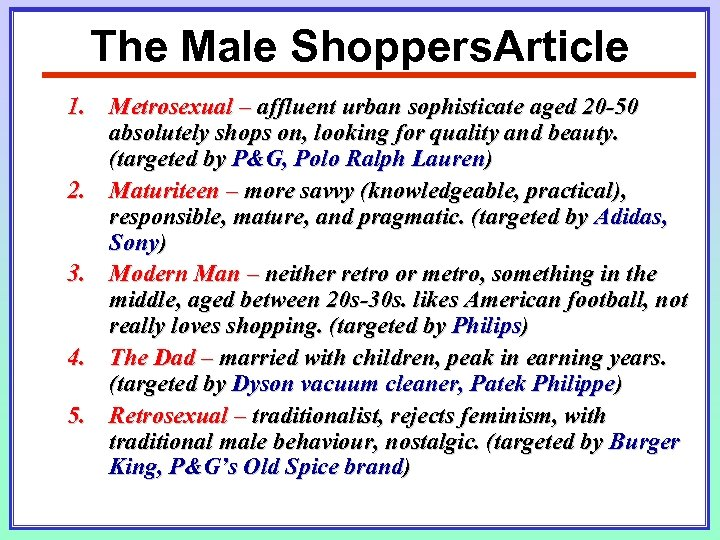 The Male Shoppers. Article 1. Metrosexual – affluent urban sophisticate aged 20 -50 absolutely
