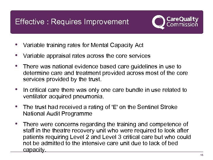 Effective : Requires Improvement • Variable training rates for Mental Capacity Act • Variable
