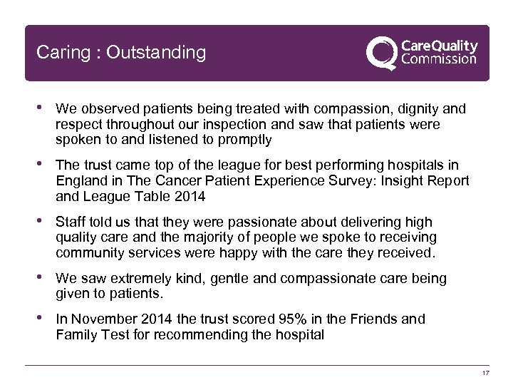 Caring : Outstanding • We observed patients being treated with compassion, dignity and respect
