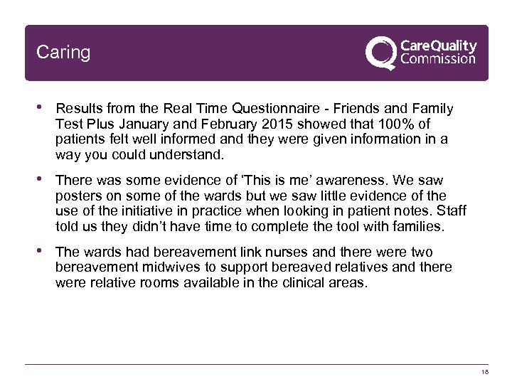 Caring • Results from the Real Time Questionnaire - Friends and Family Test Plus