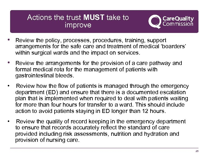 Actions the trust MUST take to improve • Review the policy, processes, procedures, training,